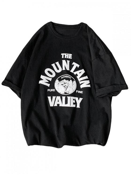 Mountain Graphic Print Basic T-shirt - أسود 3XL