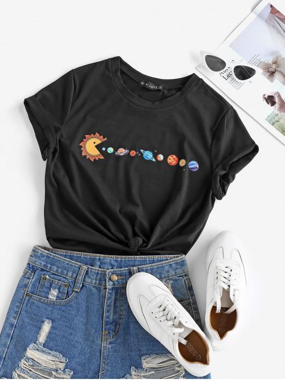 ZAFUL Camiseta de Algodón de Manga Corta con Estampado de Planet - Negro S