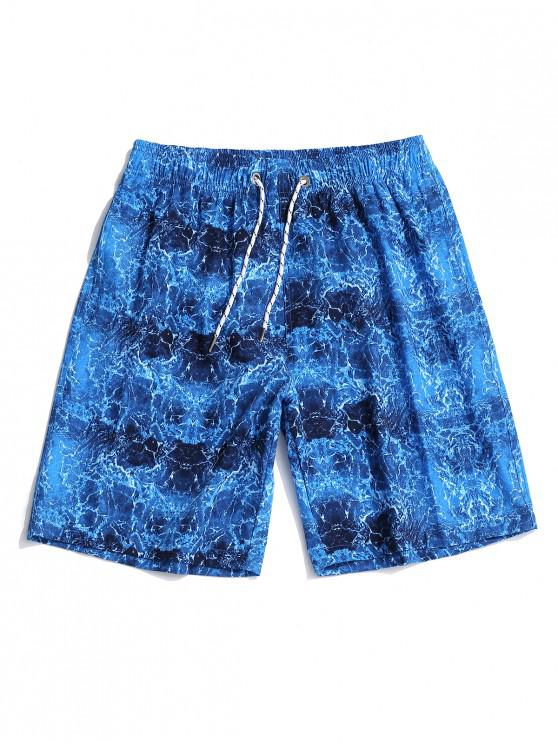 best Sea Wave Printed Elastic Waist Casual Shorts - SILK BLUE 2XL