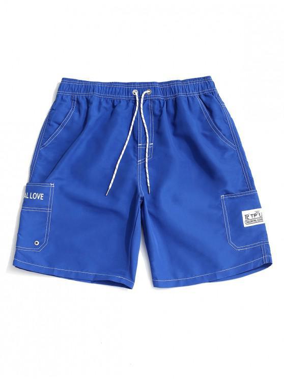 chic Letter Print Elastic Waist Casual Shorts - BLUE 3XL