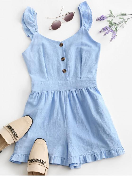 womens Ruffle Button Placket Romper - BLUE L