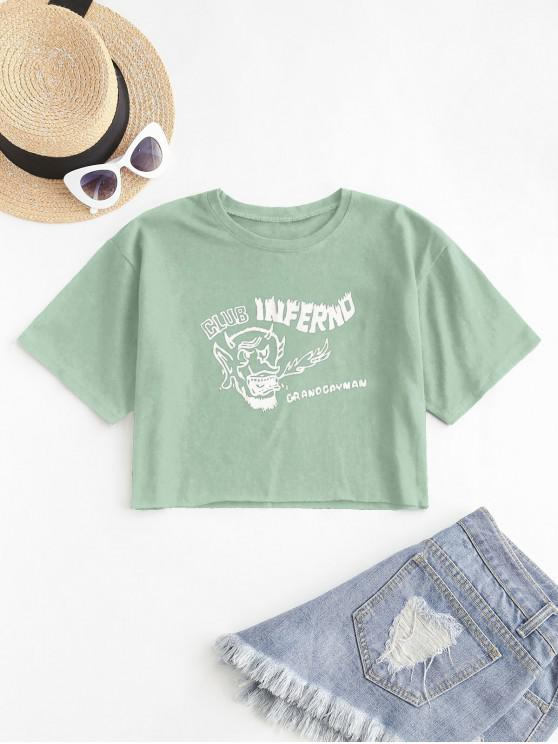 unique Cropped Graphic Front Basic Tee - GREEN L