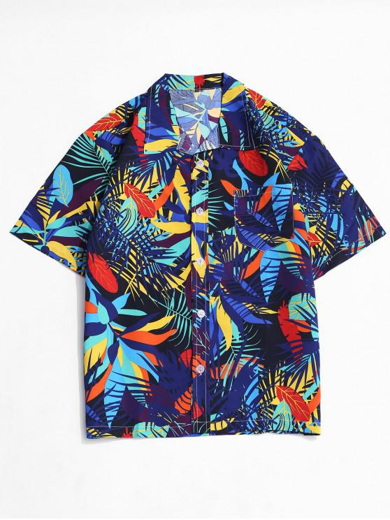 women Colorful Leaves Pattern Short Sleeve Holiday Shirt - MULTI-B S
