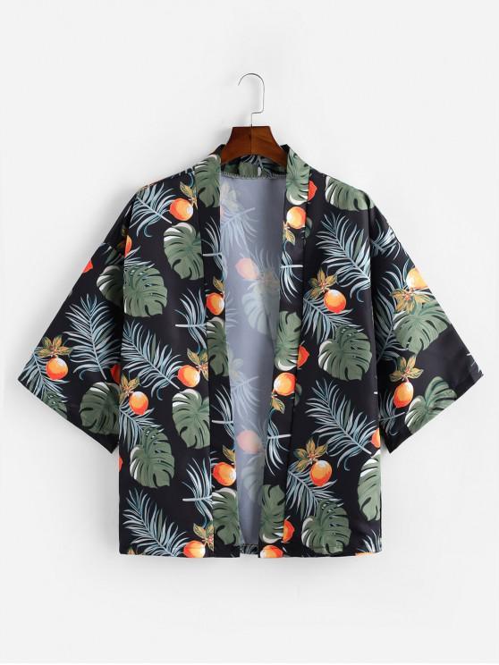 lady Leaf Fruit Printing Kimono Shirt - BLACK 2XL