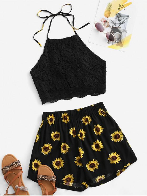 outfits Crochet Lace Sunflower Halter Two Piece Set - BLACK M