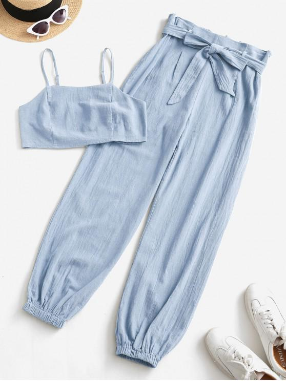ladies ZAFUL Smocked Back Cropped Belted Jogger Paperbag Pants Set - LIGHT BLUE M