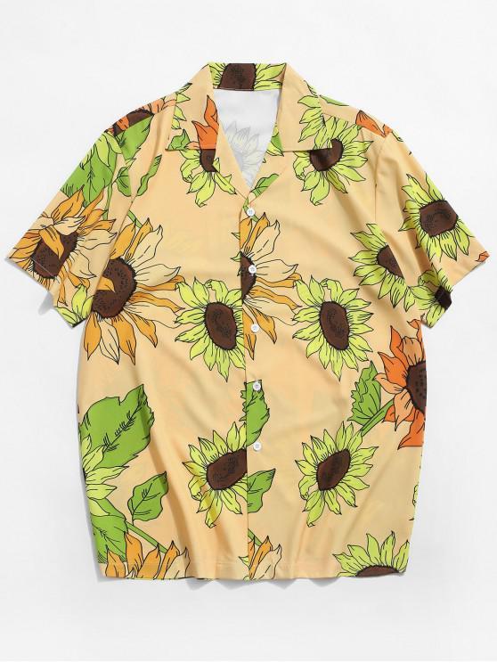 best Sunflower Print Vacation Button Shirt - RUBBER DUCKY YELLOW 2XL