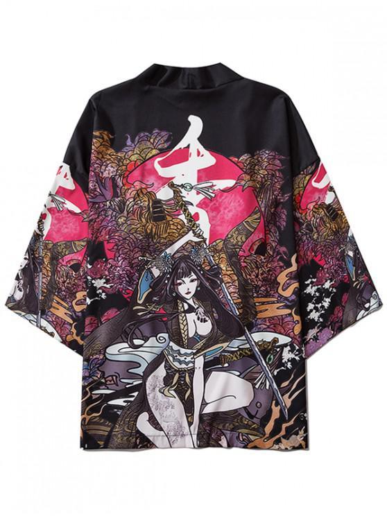 outfit Samurai Geisha Floral Oriental Print Kimono Cardigan - BLACK 2XL