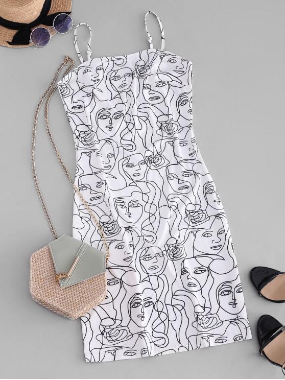 best ZAFUL Figure Sketch Print Cami Bodycon Dress - WHITE S