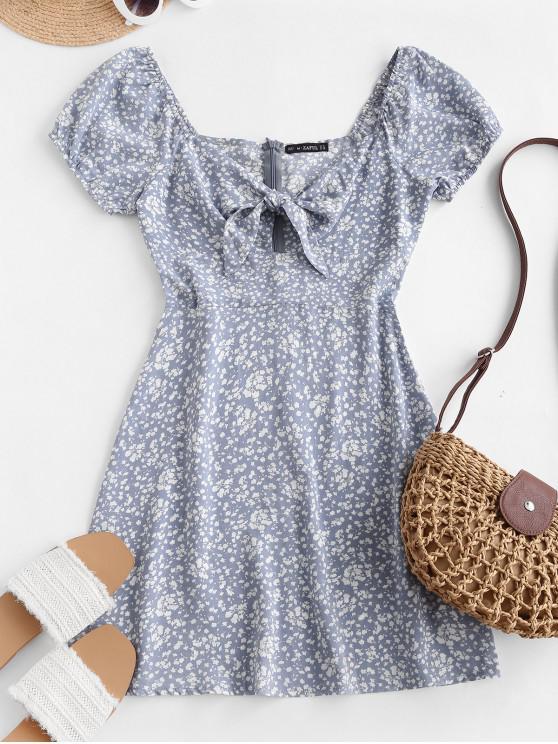 Ditsy Print Legat de Keyhole rochie mini - Pastel albastru S