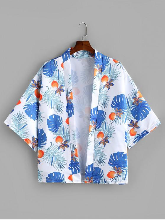 lady Leaf Fruit Printed Half Sleeves Shirt - WHITE 2XL