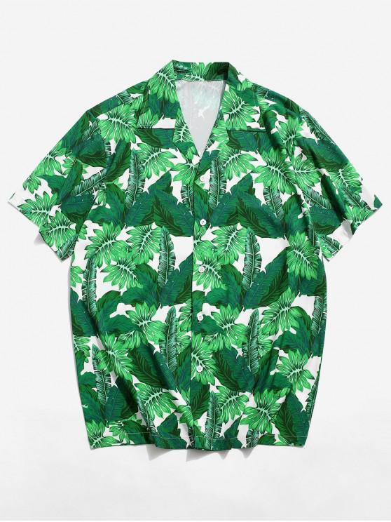 Camisa de Estampado de Hoja Tropical - Verde de Tortuga Marina XL