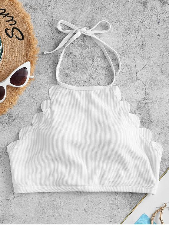 outfits ZAFUL Ribbed Halter Scalloped Swim Top - WHITE S