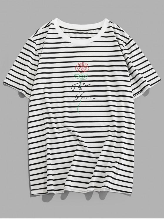 ZAFUL Embroidery Flower Striped T-shirt - أبيض S