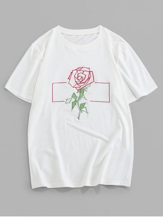 ZAFUL T-shirt de Manga Curta com Bordado de Padrão da Rosa - Branco 2XL
