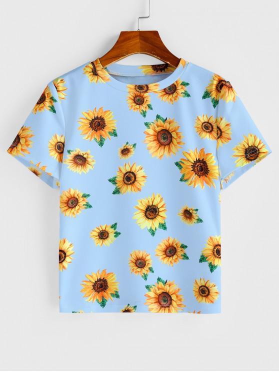 fancy Sunflower Printed Short Sleeve T-shirt - LIGHT BLUE S