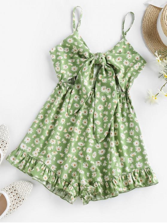 outfit ZAFUL Daisy Print Tied Ruffle Cutout Romper - GREEN L