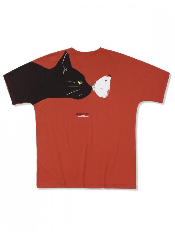 Cartoon Cat and Mouse Print Raglan Sleeve T-shirt - أحمر M