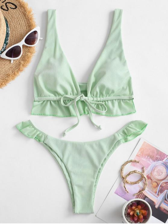 hot ZAFUL Ribbed Ruffle Low Waisted Bikini Swimwear - GREEN L