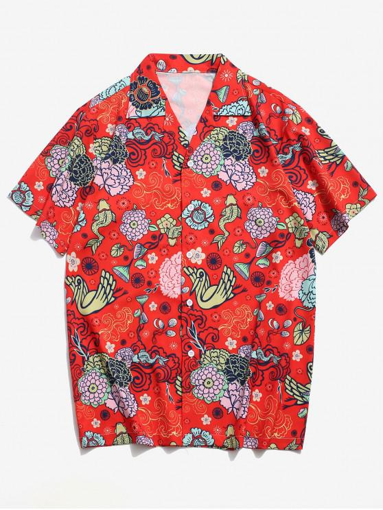 women Flower Paradise Graphic Vacation Shirt - RED S