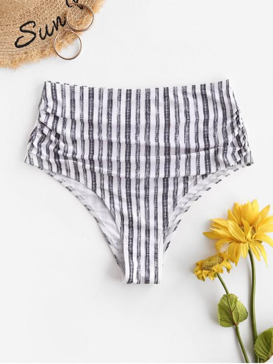 women's ZAFUL Striped High Cut Ruched Bikini Bottom - GRAY XL