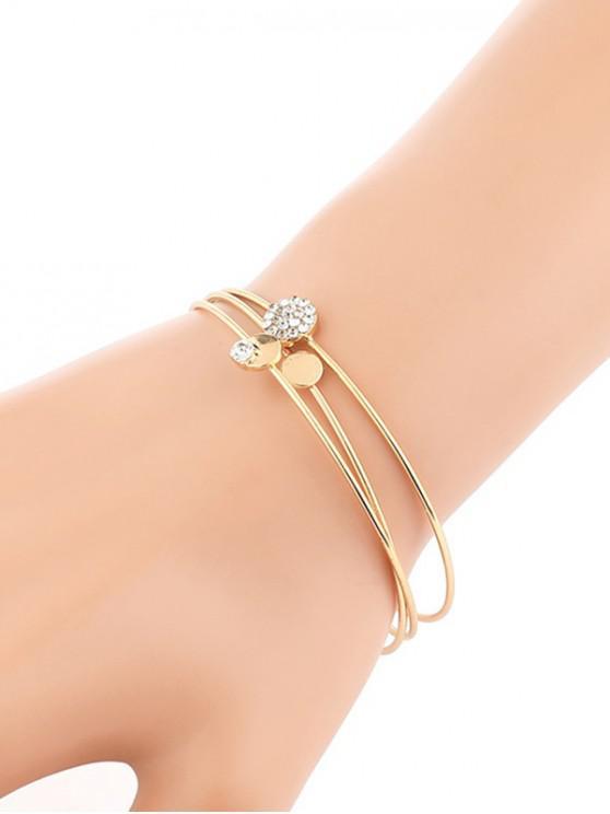 women's 3Pcs Open Rhinestone Cuff Bracelet Set - GOLD