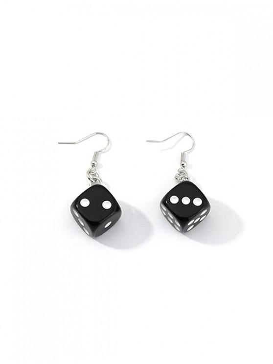 affordable Dice Resin Drop Earrings - BLACK