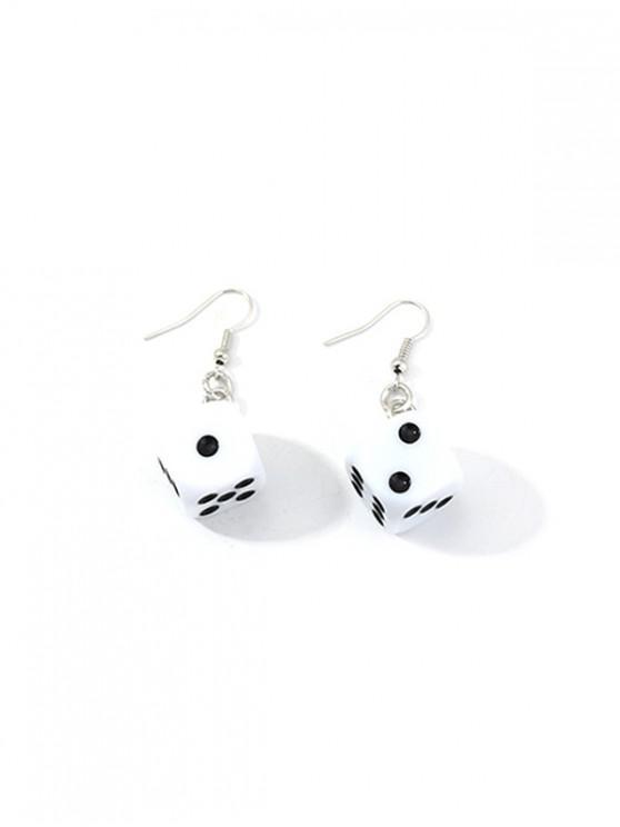 sale Dice Resin Drop Earrings - WHITE