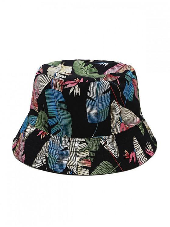 women Tropical Leaf Pattern Bucket Hat - BLACK