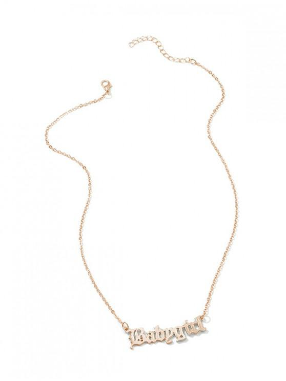 outfit Hollow Out Pendant Monogram Necklace - GOLD
