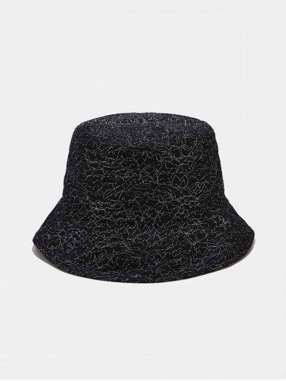 ladies Irregular Metallic Lines Bucket Hat - BLACK