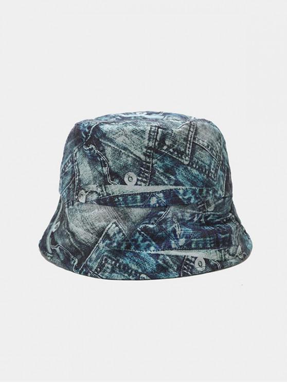 Letter GraffitiPrinted Bucket Hat - الرخام الأزرق