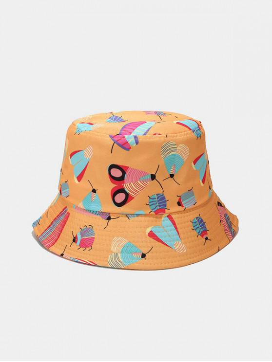 lady Cartoon Insect Print Cute Bucket Hat - BEE YELLOW