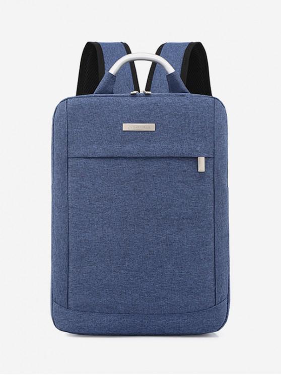shop Solid Color Large Capacity Laptop Backpack - BLUE