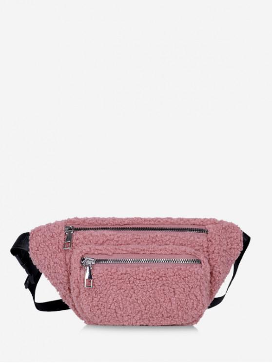 Pure Color Zip Pockets Adjustable Fluffy Chest Bag - الكاكي روز