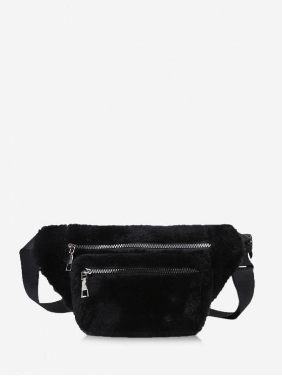 affordable Pure Color Zip Pockets Adjustable Fluffy Chest Bag - BLACK