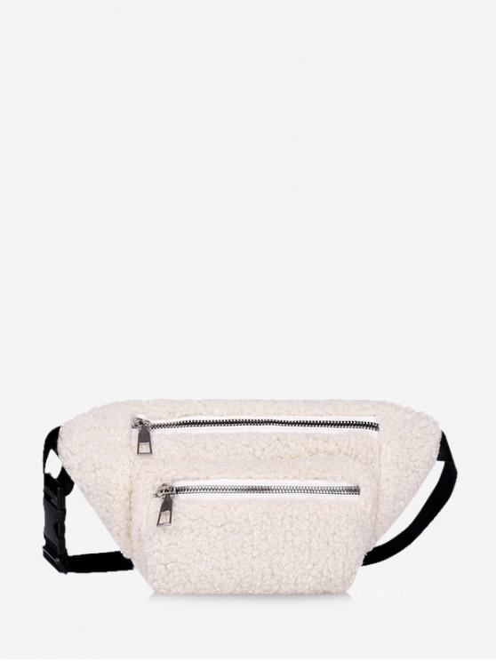 sale Pure Color Zip Pockets Adjustable Fluffy Chest Bag - WHITE