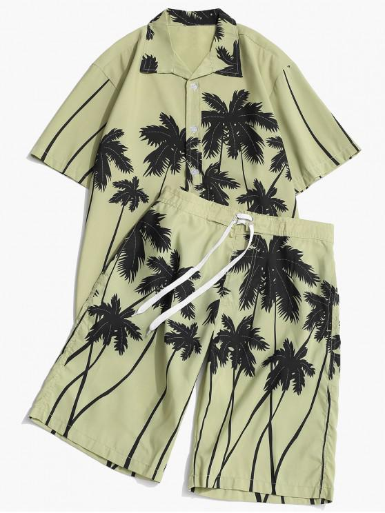 women Coconut Palm Print Hawaii Shirt and Beach Shorts - PISTACHIO GREEN XS
