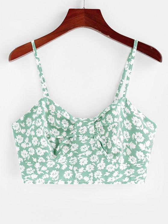 womens ZAFUL Ditsy Print Bow Shirred Cami Bralette Top - LIGHT GREEN M