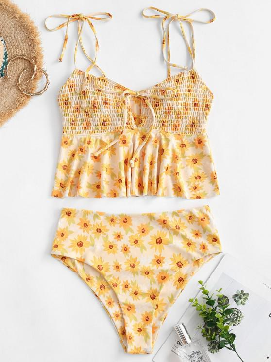 hot ZAFUL Sunflower Smocked Tie Shoulder Peplum Tankini Swimwear - YELLOW 2XL