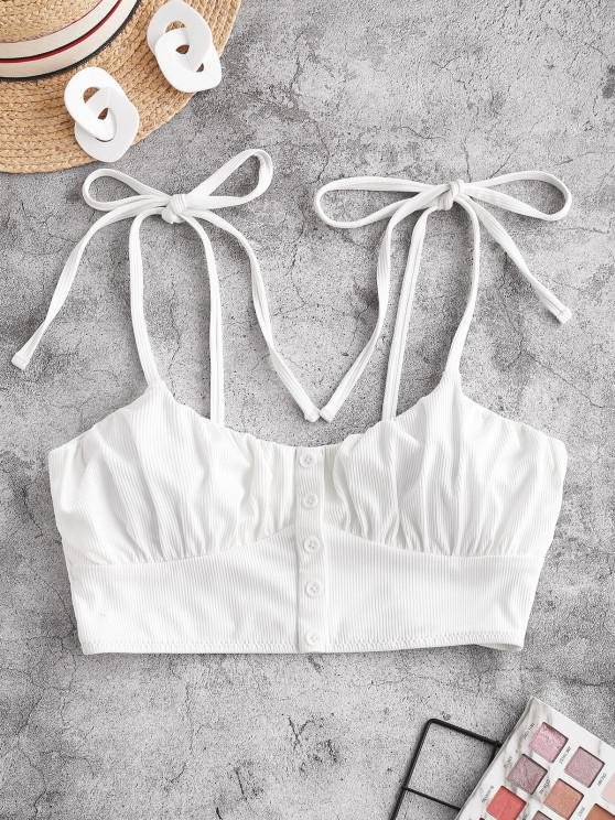 buy ZAFUL Tie Ribbed Cropped Bikini Top - WHITE S