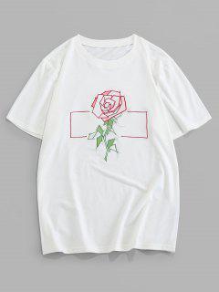 ZAFUL Embroidery Rose Pattern Basic T-shirt - White 2xl