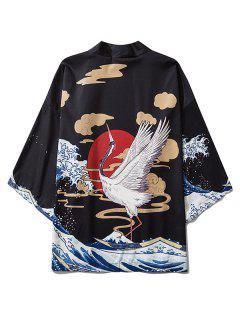 Flying Crane Asian Waves Oriental Print Kimono Cardigan - Black L