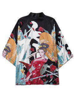 Samurai Geisha Oriental Print Kimono Cardigan - Black Xl