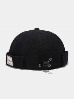 Letter Applique Drawstring Skullcap Hat - Black