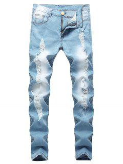 Distressed Stitching Faded Wash Ripped Jeans - Light Blue 32