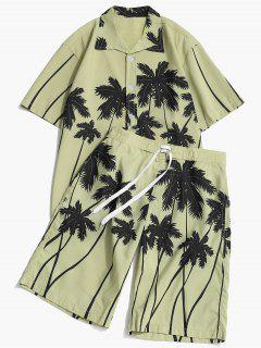 Coconut Palm Print Hawaii Shirt And Beach Shorts - Pistachio Green Xs