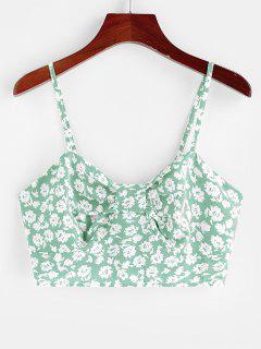 ZAFUL Ditsy Print Bow Shirred Cami Bralette Top - Light Green M