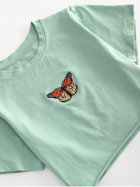 Roher Saum Schmetterling Besticktes Geerntetes T-Shirt - Grün S Mobile
