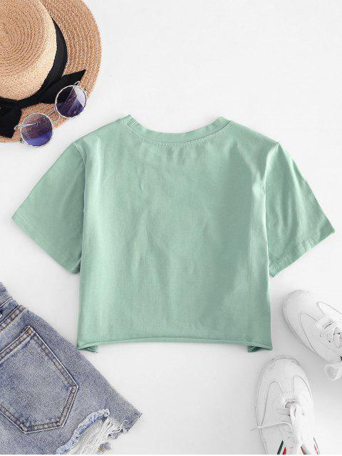 Camiseta Recortada com Bordado Borboleta e Bainha - Verde S Mobile